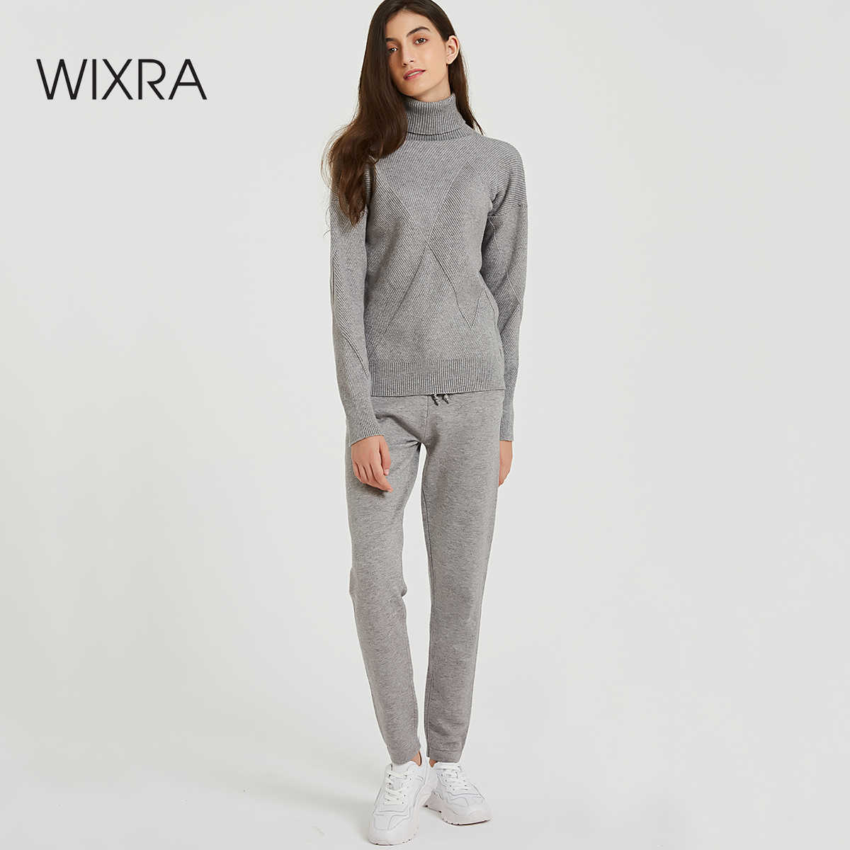 Wixra Autumn Winter Casual Knitted Women's Sets Turtleneck Long Sleeve Sweaters Lace-up Pants Solid Sets For Ladies