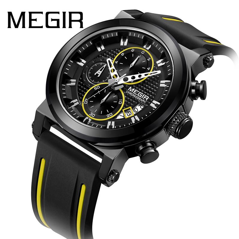 <font><b>MEGIR</b></font> Men's Wrist Watches Top Brand Luxury Chronograph Quartz Watch Man Clock Sport Army Military Silicon montre homme <font><b>2020</b></font> New image