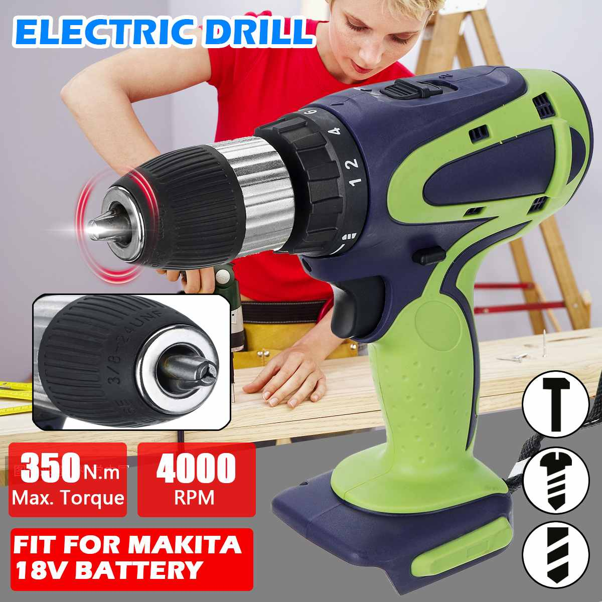 350N.m Electric Drill(no battery) power tools household DIY electric screwdriver ratchet wrench tools fit for Makita 18V Battery