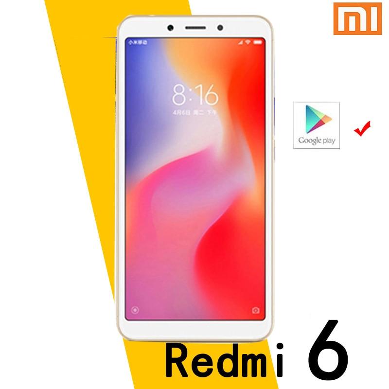 Xiaomi Redmi 6 смартфон googleplay android мобильный телефон 4 Гб 64 Гб уход за кожей лица разблокировки MT6762 Helio P22