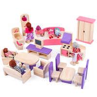 Muebles en miniatura de juguete para niñas, juguete para jugar a las casitas para muñecas, muebles de casa de muñecas de madera, juguete para juego de imitación, regalo de Navidad