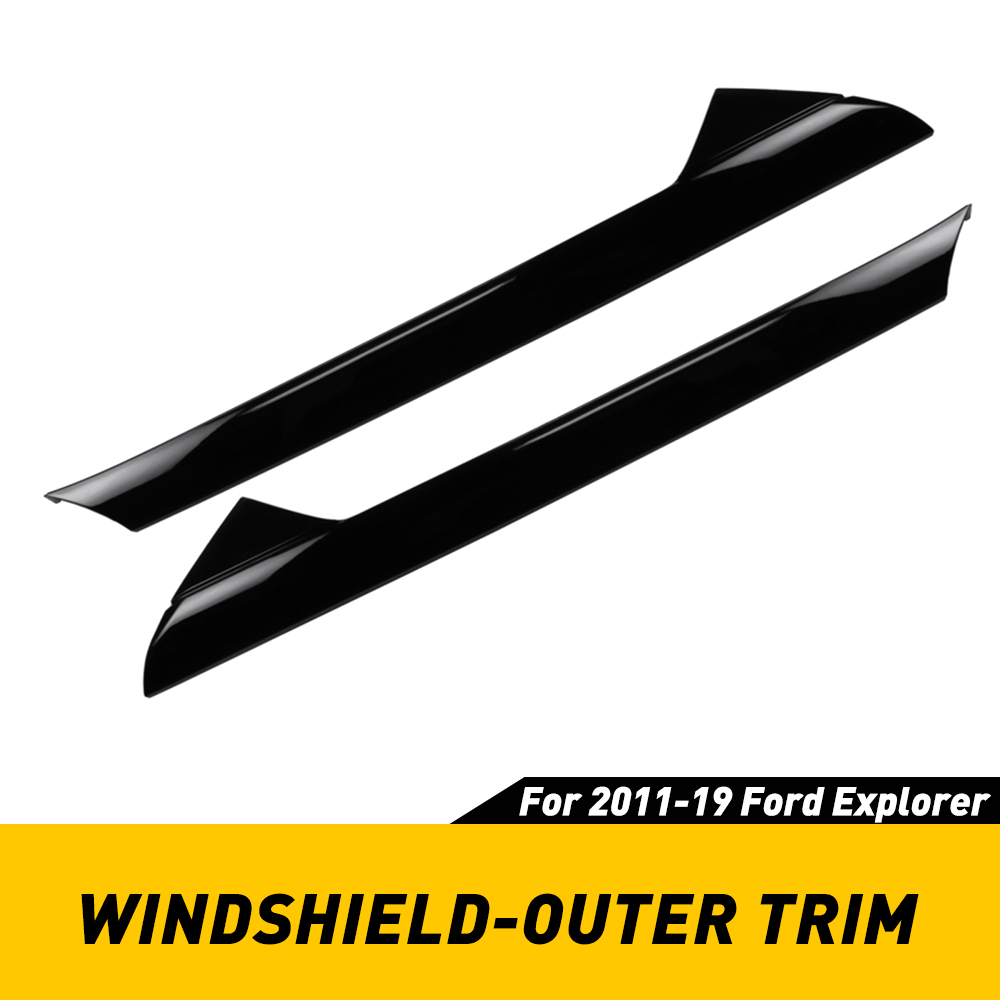 2pcs Windshield Outer Trim For Ford Explorer 2011 2012 2013 2014 2015 2016 2017 2018 2019 Outdoor Molding Trim Pillar Left Right