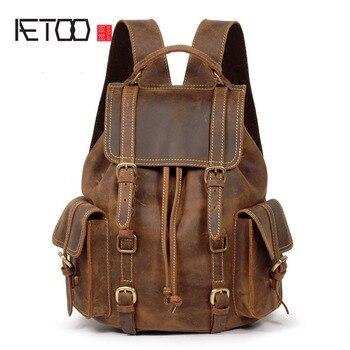 AETOO Crazy horse leather leather shoulder bag backpack retro backpack male bag first layer cowhide do old men backpack