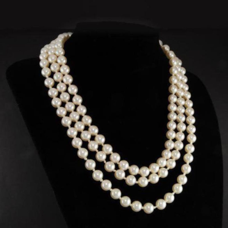 First Lady Triple Strand Real White Pearl Necklace 17-19