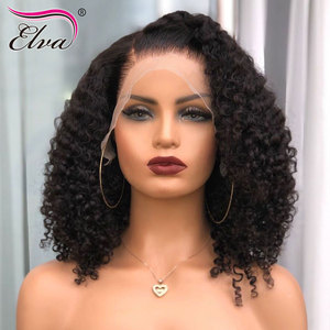 Image 1 - 13x6 Human Hair Bob Wig For Black Women Curly Lace Front Human Hair Wigs Short Glueless Elva Hair Wig Pre Plucked With Baby Hair