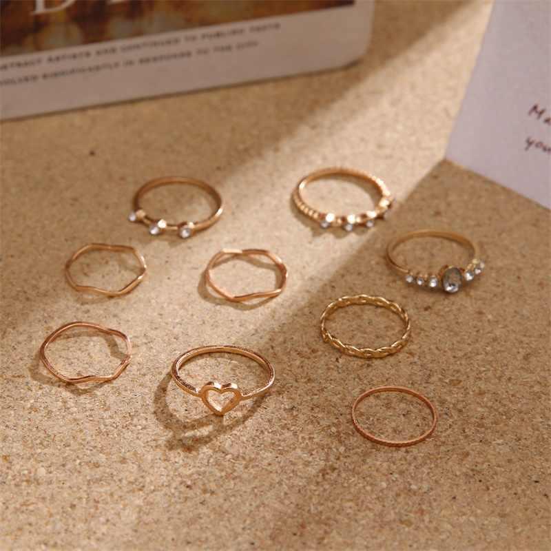 Vienkim 9 ชิ้น/เซ็ตVINTAGE BohemianรอบหัวใจWAVE Knuckleแหวนชุดผู้หญิงแหวนนิ้วมือเครื่องประดับงานแต่งงาน 2019 ใหม่