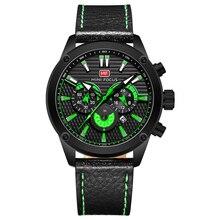 Часы мужские с кожаным ремешком, Брендовые спортивные водонепроницаемые кварцевые наручные, с мини фокусом