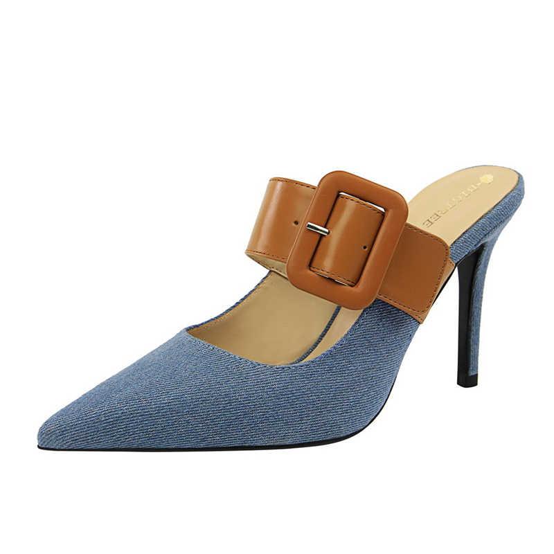 Zarif kadın için ayakkabı katır yüksek topuklu seksi tasarım ayakkabı kadınlar lüks 2020 aşırı yüksek topuk terlik elbise ayakkabı kadın Buty