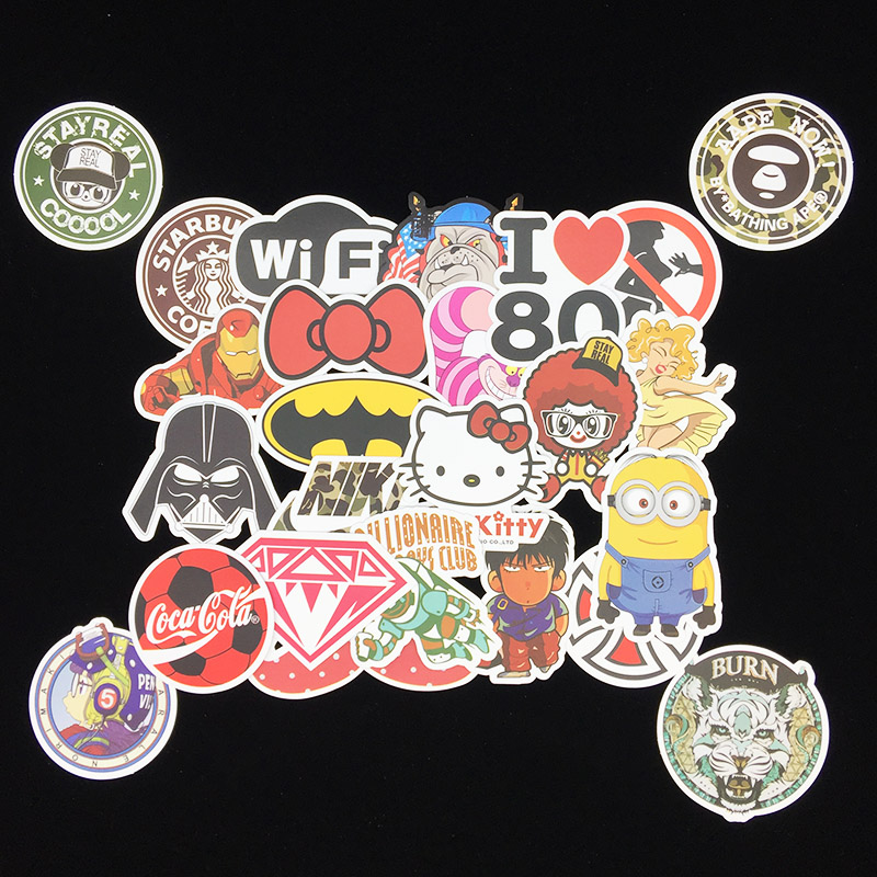 100 pcs Showing Individuality Graffiti Stickers Cartoon Various Styles Waterproof PVC For Laptop Helmet Luggage Personality DIY in Stickers from Home Garden