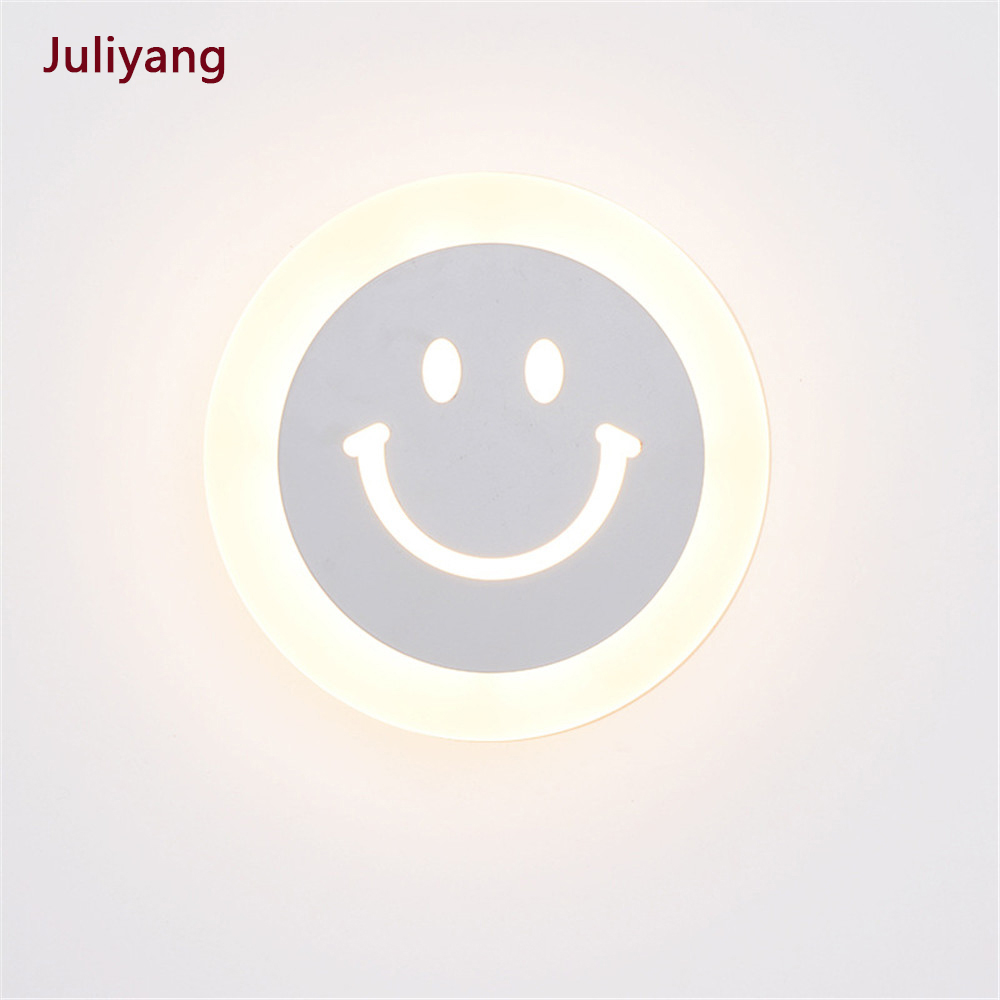 Led Bedroom Light Simple Creative Ultra-thin Smiley Wall Light Children's Room Hotel Living Room Aisle Wall Lamp AC85-265V