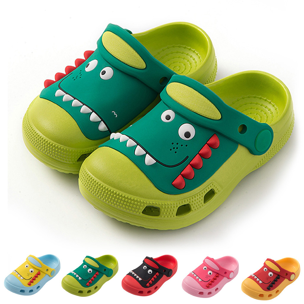 Crocs Children Shoes Tip Binding Cartoon Slippers Cute Dinosaur GARDEN SHOES Antiskid Shoes For Baby Boys Girls Beach Sandals