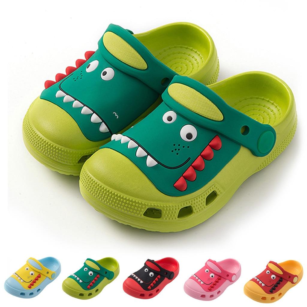 Crocs Children Shoes Tip Binding Cartoon Slippers Cute Dinosaur GARDEN SHOES Antiskid Shoes For Baby Boys Girls Beach Sandals