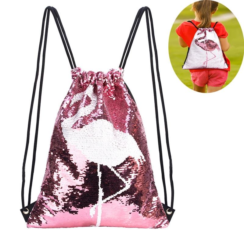 Flamingo Sequins Backpack Girls Waterproof Travel Bag Magic Reversible Shoulder Bag Drawstring Bag Casual Kids School Bag