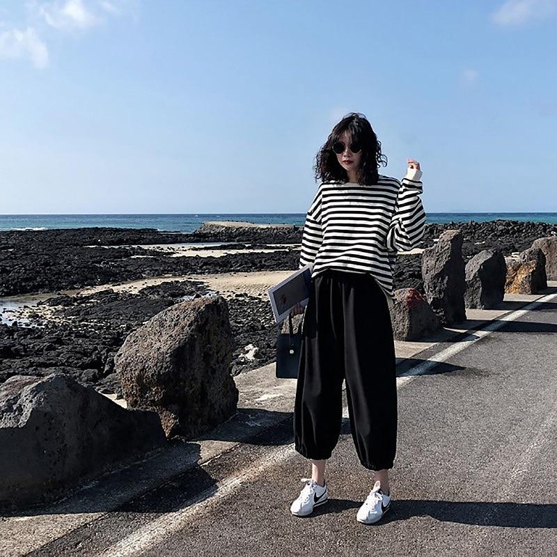 Sweat à capuche en coton à rayures gothiques pour femme, vêtement à manches longues, ample, Kawaii, coréen, fin, Harajuku, automne 2021 5