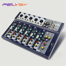 FELYBY Professional 7 Channesl Mixer Studio Sound Mixing Console with Digital Reverb Effect USB Interface DJ Audio