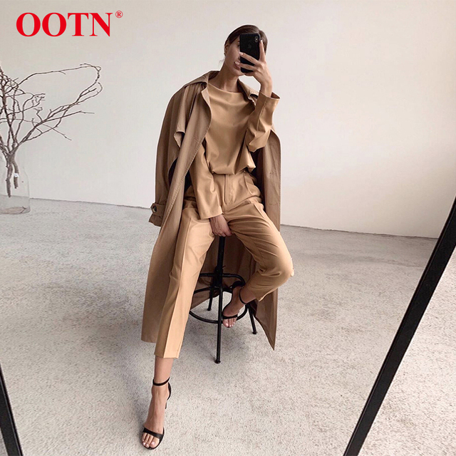 OOTN Casual High Waist Khaki Pants Women Autumn Winter Brown Ladies Office Trousers Zipper Pocket Solid Female Pencil Pants 3