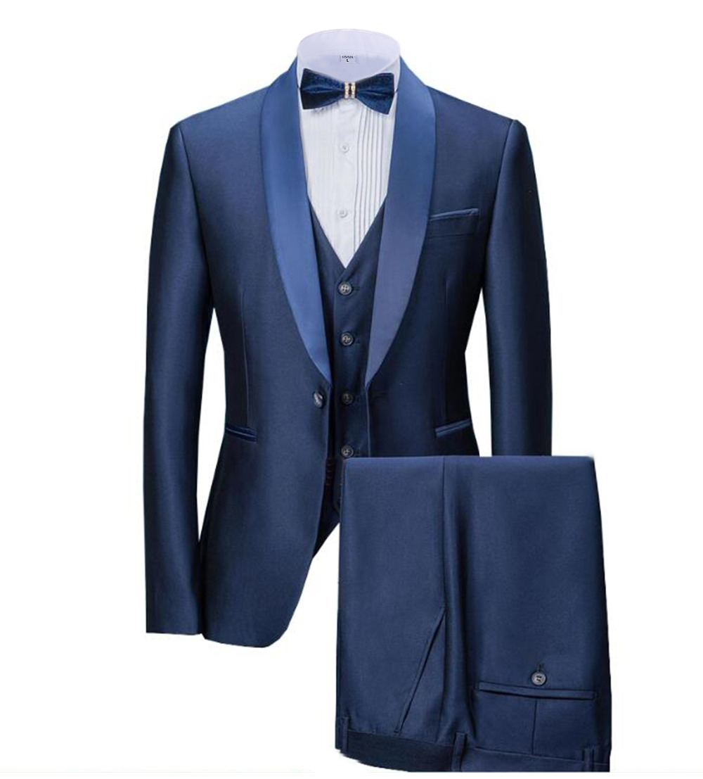 Solovedress Slim Fit Wedding Groom Tuxedos For Singer Prom Man Suit Shawl Lapel 3 Piece Jacket Pants Vest Solid Stage Clothes M9
