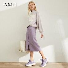 Amii春フランスワードハーフスカート女性ハイウエストチェック柄膝丈スカート11920173