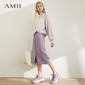 Image 1 - Amii Mùa Xuân Pháp Một Từ Nửa Váy Nữ Cao Cấp Kẻ Sọc Ngang Gối Váy 11920173