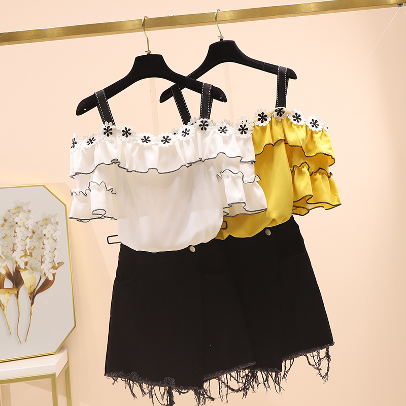 2020 Summer Two Piece Strap Flare Sleeve Slash Neck Lace Ruffles Cute Chiffon Blouse Black Shorts Women's Sets