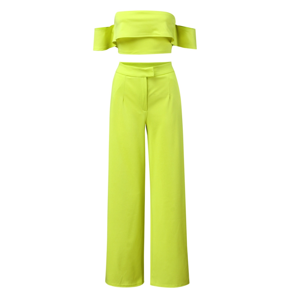 Lady Neon Green 2 Piece Set Women Solid Off the Shoulder Crop Top and Wide Leg Pants