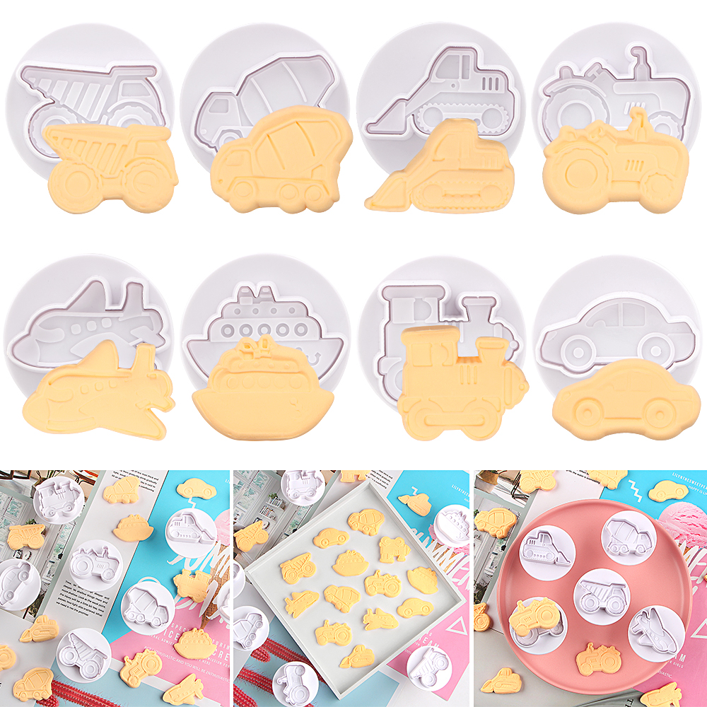 4pcs/set Plastic 3D Biscuit Mold Airplane Car Shape Cookie Cutters Fondant Pastry Plunger Chocolate Mold Cake Decorating Tools