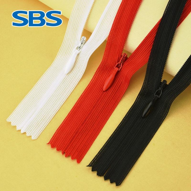 Невидимая кружевная Застежка-Молния SBS для платья, брюк, одежды, подушек, подходящая к водной головке, застежка-молния сзади, нейлоновые аксе...