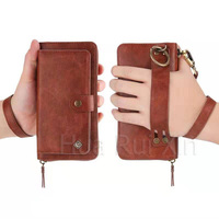 For Samsung s8 s9 s7edge note8 for iphone 8PLUS vintage pattern multi function split zipper bag mobile phone case s10plus lanyar