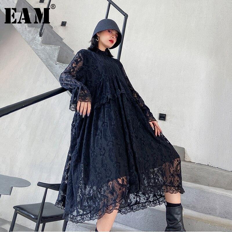 [EAM] femmes noir dentelle fendu grande taille longue robe nouveau col montant à manches longues coupe ample mode marée printemps automne 2021 1Z047