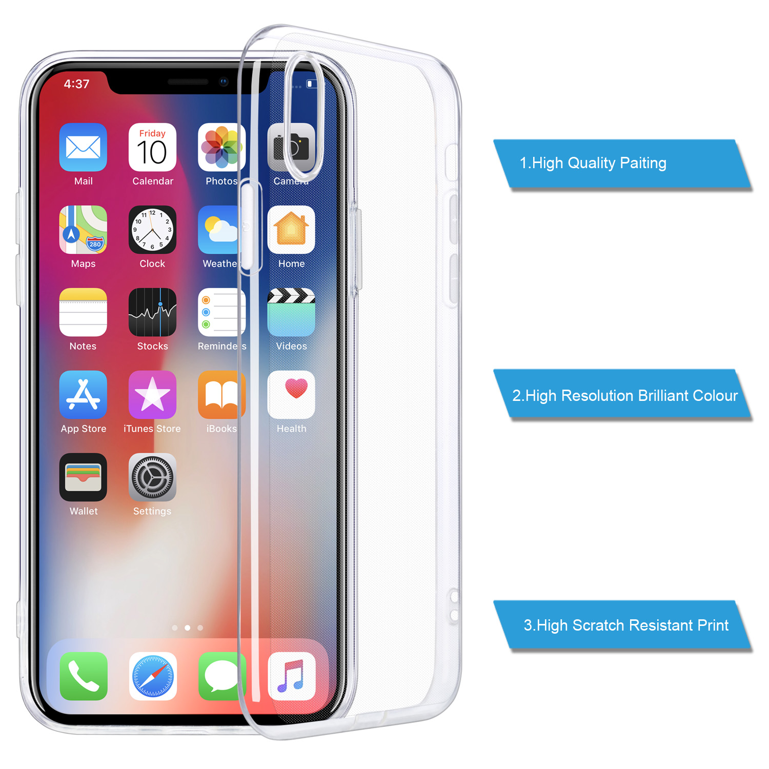 "Hca6888b3c40744e78933258b0f9a1a1ct - For iPhone X Case, WEFOR Slim Clear Soft TPU Cover Support Wireless Charging for Apple 5.8"" iPhone X /iPhone 10"