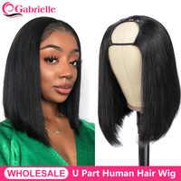 Flequillo-Peluca de cabello humano con parte en U para mujer, pelo corto brasileño con densidad de 150%, Remy, sin pegamento, barato, pelucas de cabello humano