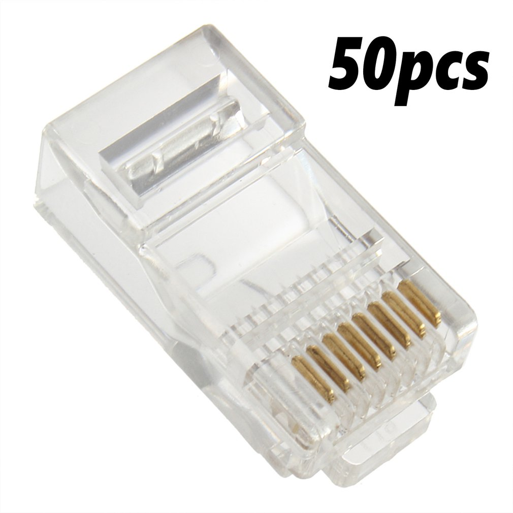 50x RJ45 Cat5e Cat6 Network LAN Patch Cable End Crimp Plug Connector GOLD Pins Crystal LAN Network Connector