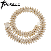 TOPGRILLZ New 20mm Thorns Big Box Buckle Cuban Heavy Necklace Copper Material Prong Setting 3A+CZ Stones Hop Hip Rapper Jewelry