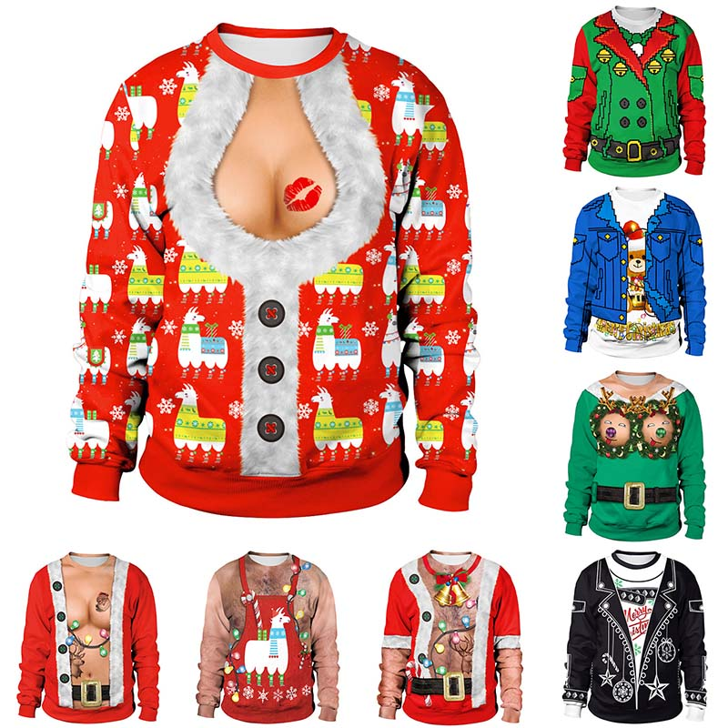 2019 Ugly Christmas Sweater Unisex Men Women Vacation Santa Elf Pullover Funny Womens Men Sweaters Tops 3D Print Chest Hair Tops