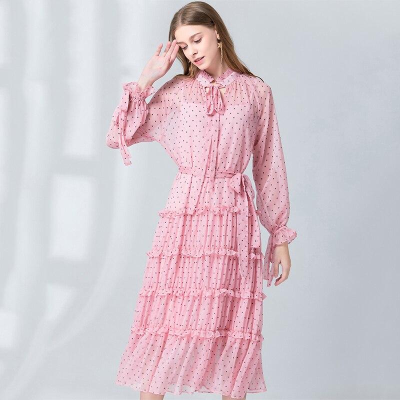 VERDEJULIAY piste femmes points robe 2020 de luxe automne été nouveau Sweety manches longues Dot femmes arc volants robe en mousseline de soie Midi