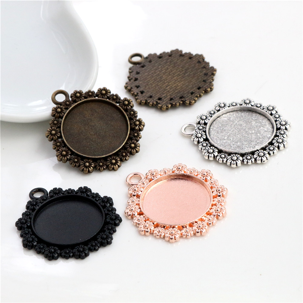5pcs 20mm Inner Size 4 Colors Plated Classic Flower Style Cabochon Base Setting Charms Pendant  Tray