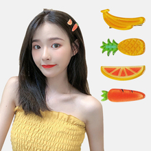 Girl heart fruit and vegetable hair clip Cute childish strawberry carrot accessories