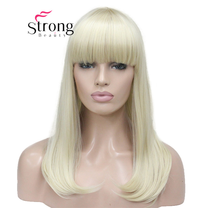 StrongBeauty Heat Ok Dot Skin Top Under Shoulder Blonde Tip Bangs Long Straight Syntheic Wig Women's Hair Wigs