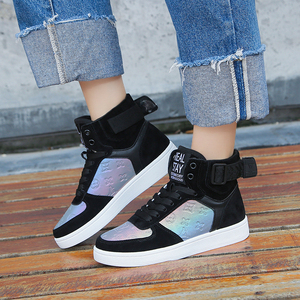 Image 3 - Genuine Leather High Top Women Sneakers Fashion Skate Shoes Lace Up Patchwork Women Casual Shoes Superstars XU135