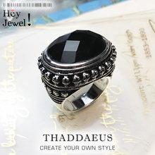 Anel de cocktail preto oval cz crânio esqueleto, estilo europa moda, jóias para homem e mulher, 2019 presente em 925 prata para amante