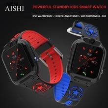 AISHI DS60 wodoodporny WIFI dzieci inteligentny zegarek LBS lokalizacja SOS 710mAh długi czas czuwania Sport telefon w zegarku 1.44 calowy monitor TFT