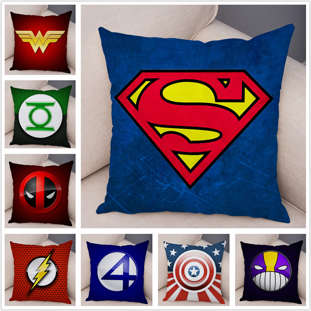 Superhero Logo Marvel Avengers Superman Deadpool Pillow Case Plush Cushion Cover For Sofa Home Decor Cartoon Pillowcase 45x45cm