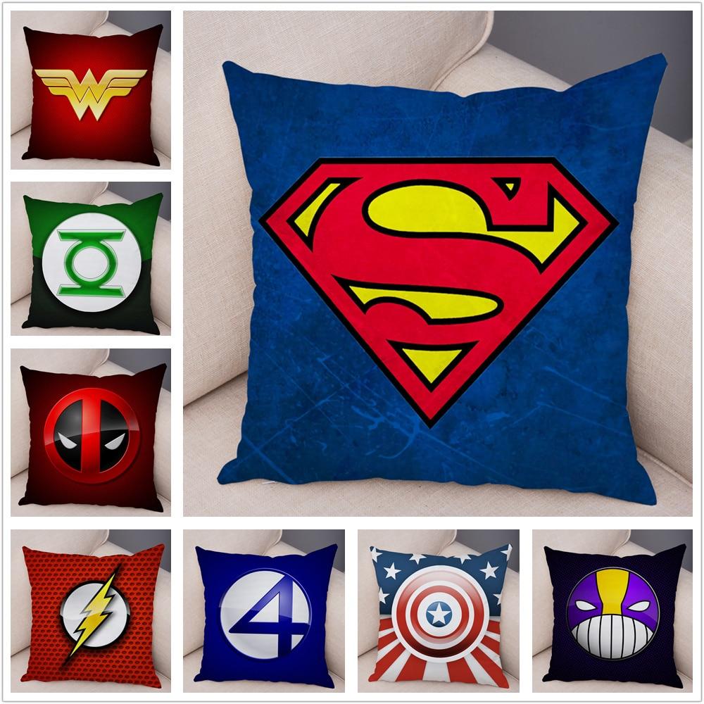 Superhero Logo Marvel Avengers Superman Deadpool Pillow Case Plush Cushion Cover For Sofa Home Decor Cartoon Pillowcase 45x45cm