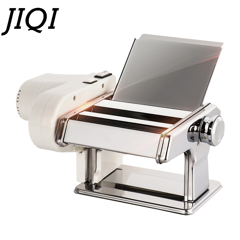 JIQI Stainless Steel Pasta Electric Manual Dual Use Noodle Maker Handmade Spaghetti Noodles Press Machine Roller Dough Cutter EU
