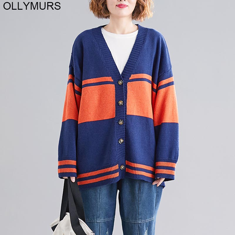 Plus Size Knited Cardigan Sweater Women 2019 New Autumn Winter Vintage Cardigans Coat Korean Stripe Casual Knit Sweaters 6XL 7XL