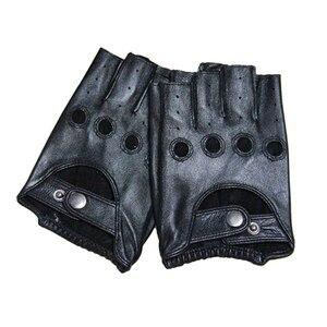 Image 5 - Men Gloves Fingerless Leather Gloves Gym Driver Tactical Military Fitness Motorcycle Half Finger Gloves Black Male Non Slip