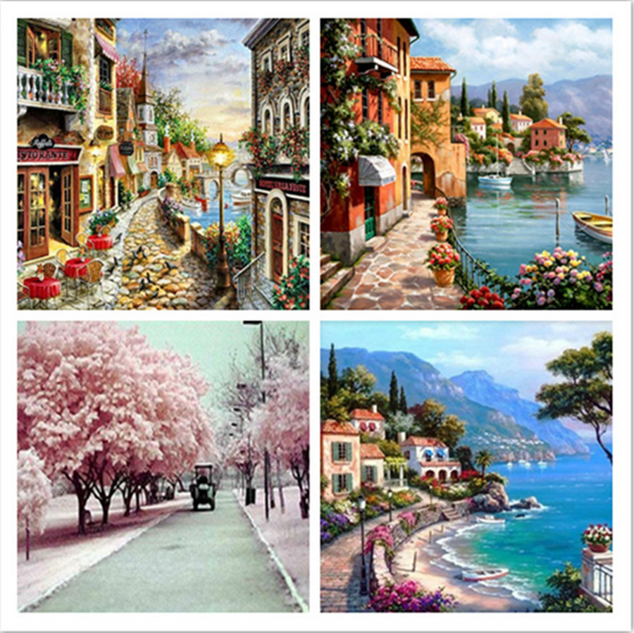 5D DIY Full Drilling Diamond Painting Landscape Diamond Embroidery Cross Stitch Seaside Home Decoration Picture