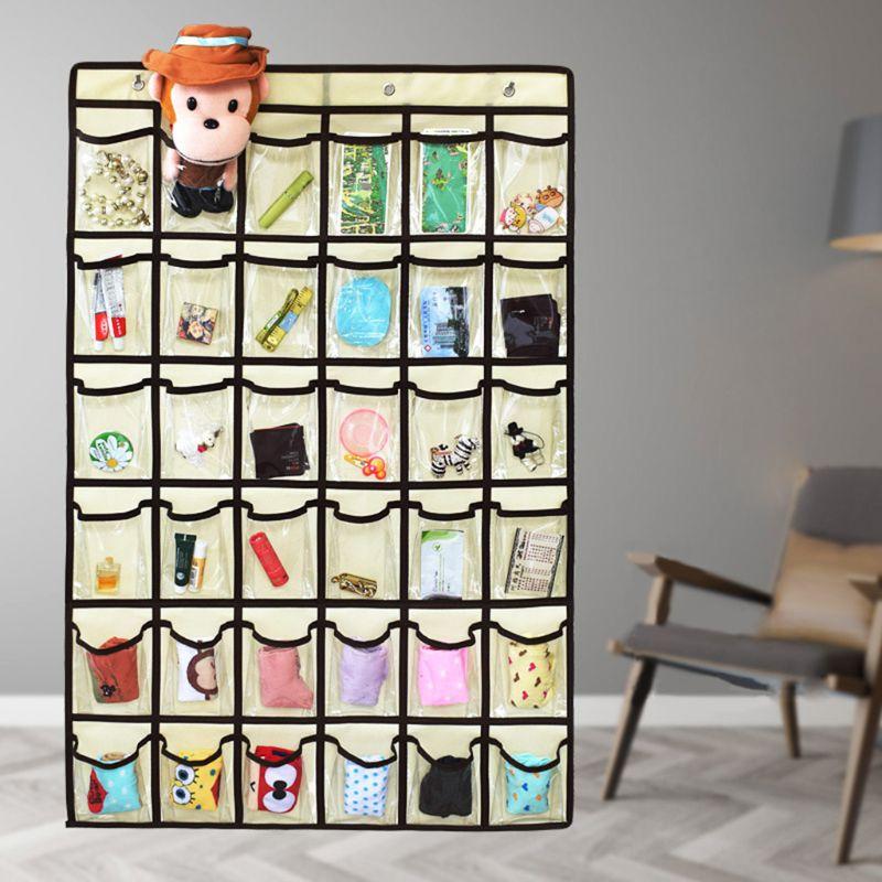 Hanging Closet Underwear Sock Storage Over The Door Organizer 36 Clear Pockets