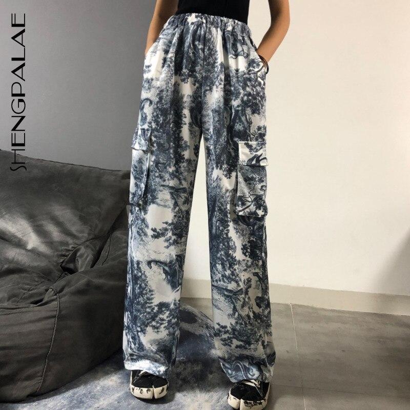 SHENGPALAE 2020 Vintage Patchwork Joggers Sweatpants Ink Splash Straight Wild Leg Pants Design Loose High Waist Trousers ZA2837