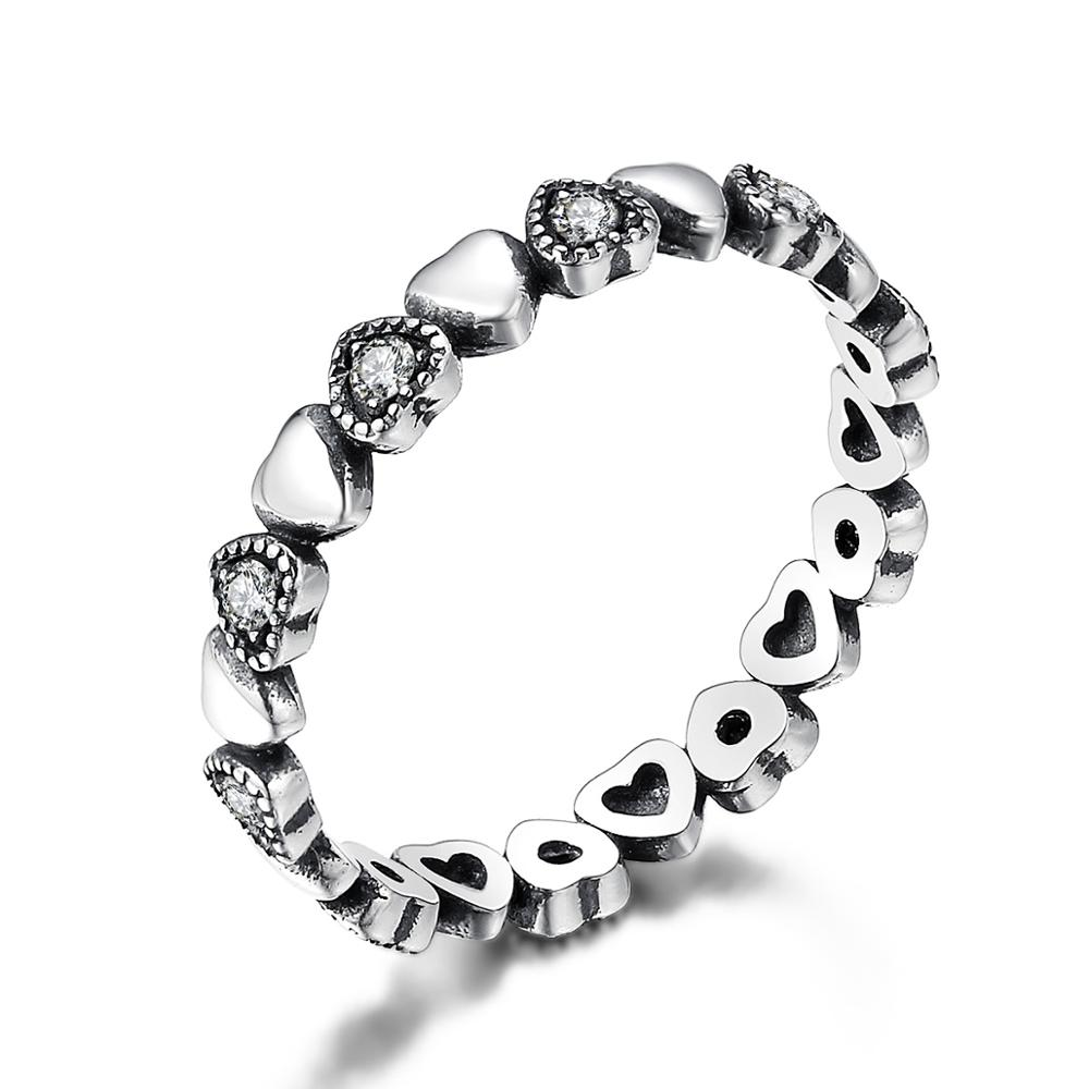 Women's Ring with Silver and Black Hearts Jewelry Rings Women Jewelry